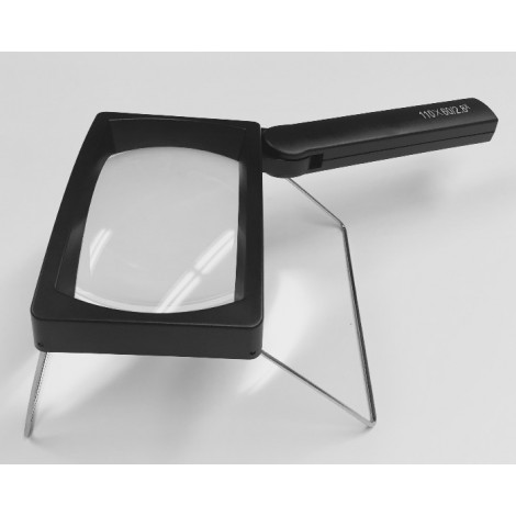 3x Rectangular LED Magnifier with Stand, Rechargeable Battery