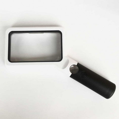 Rectangular Lighted Handheld Magnifier, 2x, 10x, Dimmable High Contrast LED