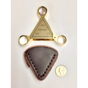 Jewelers Loupe,Triangular 3 Loupes in 1,10x,15x,20x Gold, Leather Case