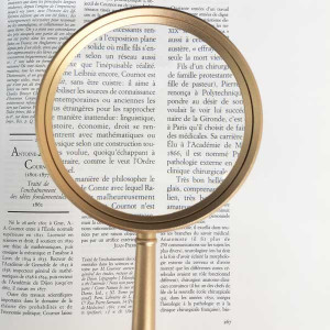 """3.5"""" Inch, 3x, Glass Lens, Metal Handheld Magnifier with Case"""