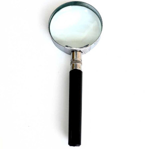 """3.5x, small 1.5"""" Glass Lens, Value Metal Handheld Magnifier"""