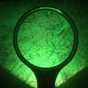 """4"""" Avaition Chart Magnifier, Green Light For Night Vision, 3x, MADE IN USA"""
