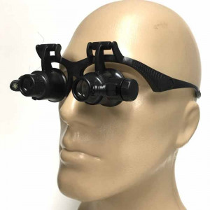 10x-25x High Diopter Short Focus Eyeglass Style Jewelers Loupe With 4 Lenses