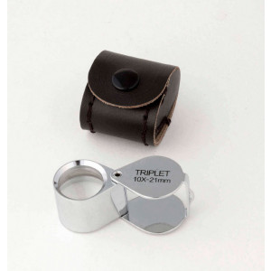 JPLC2-10x 10x Jewelers Loupe, Triplet Lens, 21mm, genuine leather case