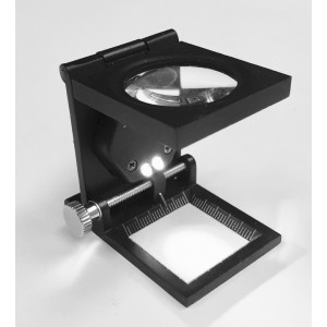 """6x Metal Linen Tester with LED Illumination 6x 1"""" Lens"""