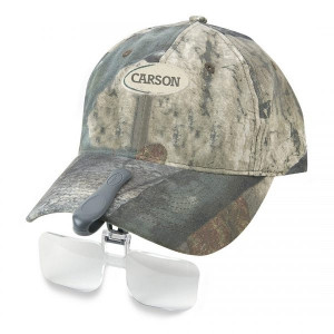 2x Clip on Magnifier for baseball cap Hat Visor, by Carson Optical clips onto hat visor for easy magnifying and viewing.